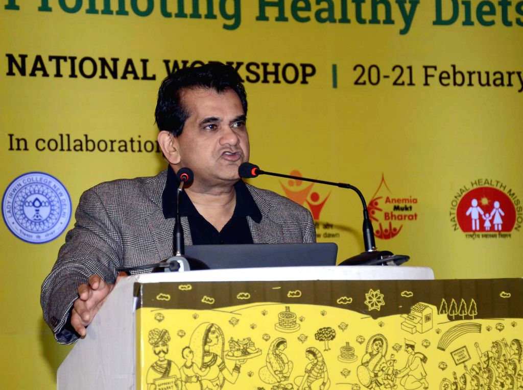 NITI Aayog CEO Amitabh Kant addresses at a workshop to promote Healthy Diets from Local Food Systems, in New Delhi, on Feb 20, 2019.