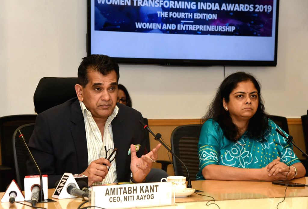 NITI Aayog CEO Amitabh Kant addresses at the launch of the fourth edition of the Women Transforming India (WTI) Awards, in New Delhi on Aug 9, 2019.