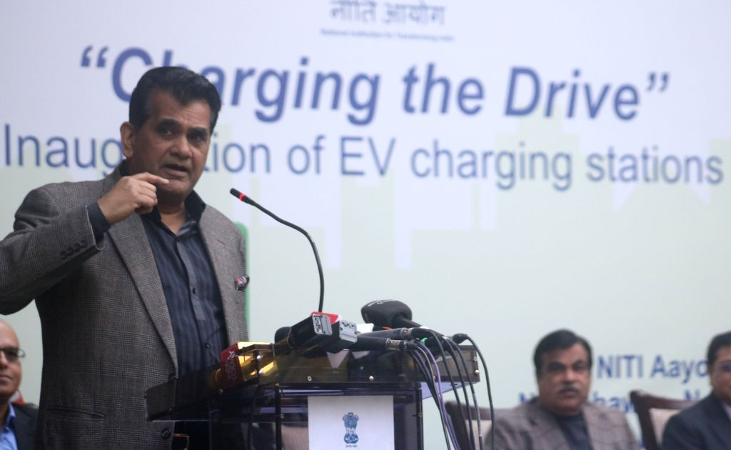 NITI Aayog CEO Amitabh Kant addresses during a programme organised to inaugurate and EV (Electric Vehicle) charging station at NITI Ayog in New Delhi, on Feb 15, 2018.