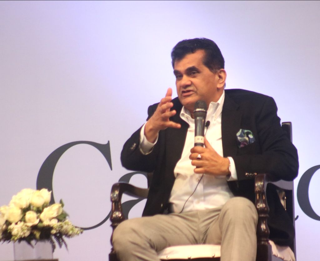 NITI Aayog CEO Amitabh Kant addresses during an interactive session at the United Nations Young Changemakers Conclave in New Delhi on Feb 24, 2018.