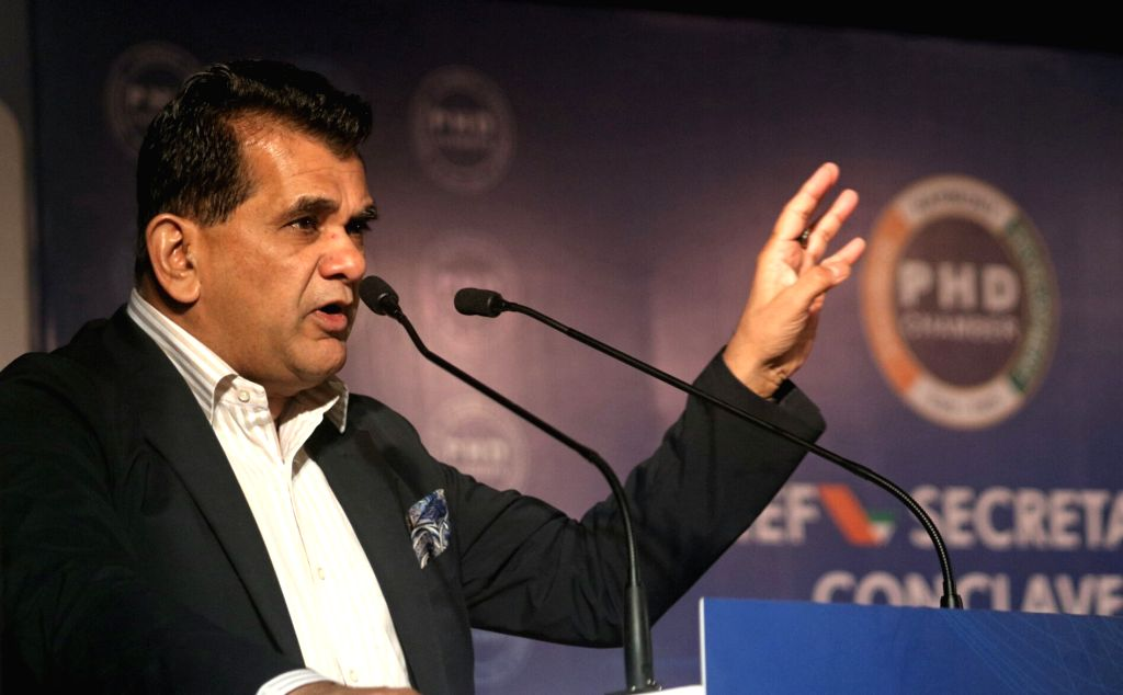 "NITI Aayog CEO Amitabh Kant addresses during the Chief Secretaries' Conclave on ""Role of States, for Making New India by 2022"" organised by PHD Chamber of Commerce and Industry ..."