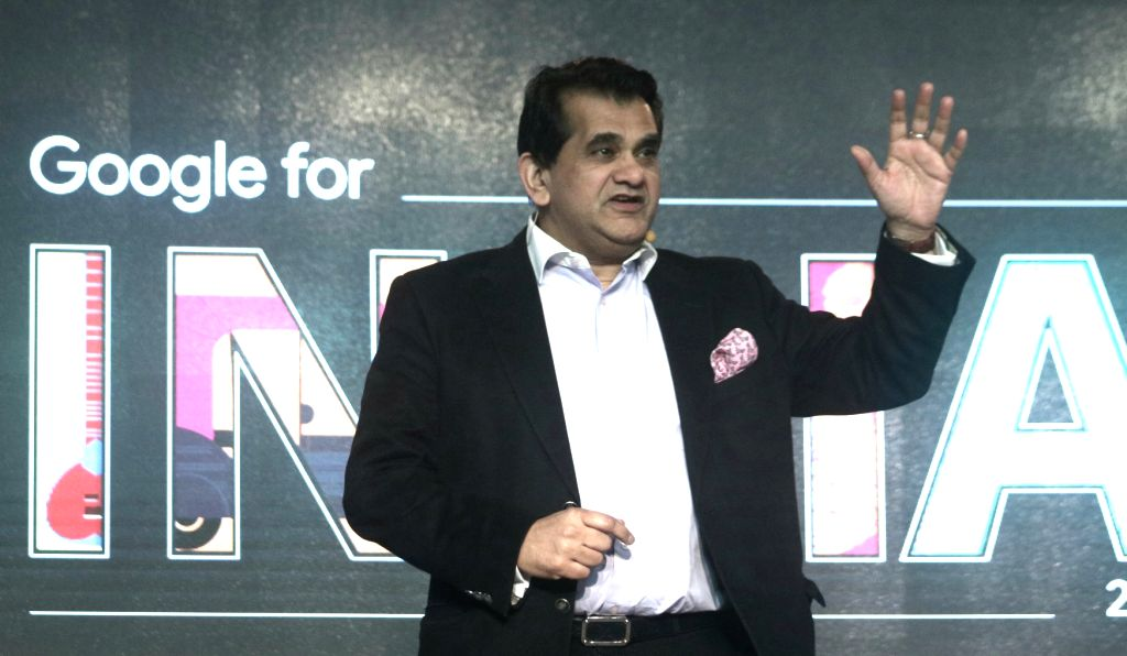 NITI Aayog CEO Amitabh Kant  addresses during the third edition of Google for India in New Delhi, on Dec 5, 2017.