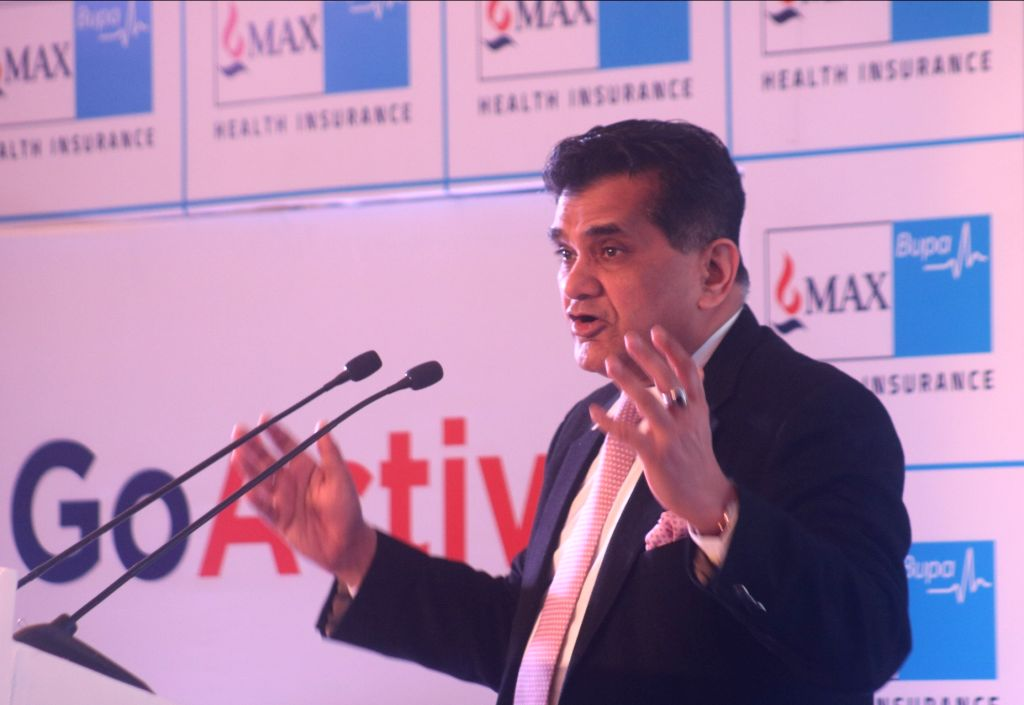 NITI Aayog CEO Amitabh Kant addresses during the launch of a health insurance plan in New Delhi on Feb 13, 2018.