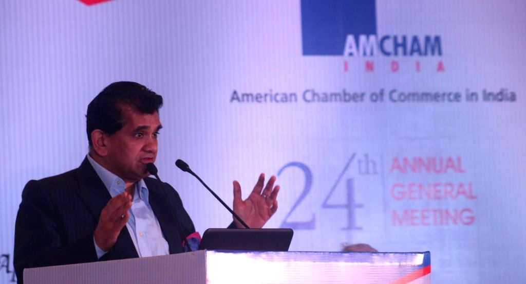 """Niti Aayog CEO Amitabh Kant addresses durinng 24th AGM on """"Smart Infrastructure and Eco System - Foundation for Sustainable Growth"""" in New Delhi on April 22, 2016."""