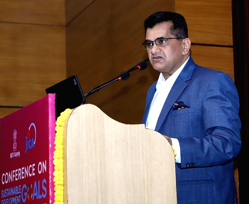 NITI Aayog CEO Amitabh Kant addresses the conference on implementing Sustainable Development Goals (SDGs) in Aspirational Districts, in New Delhi, on March 6, 2019.