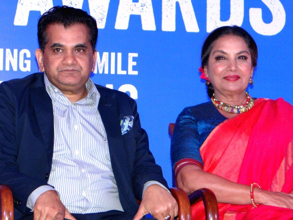 NITI Aayog CEO Amitabh Kant and actress Shabana Azmi during Plan India Impact Awards 2018, in New Delhi on July 27, 2018. - Shabana Azmi