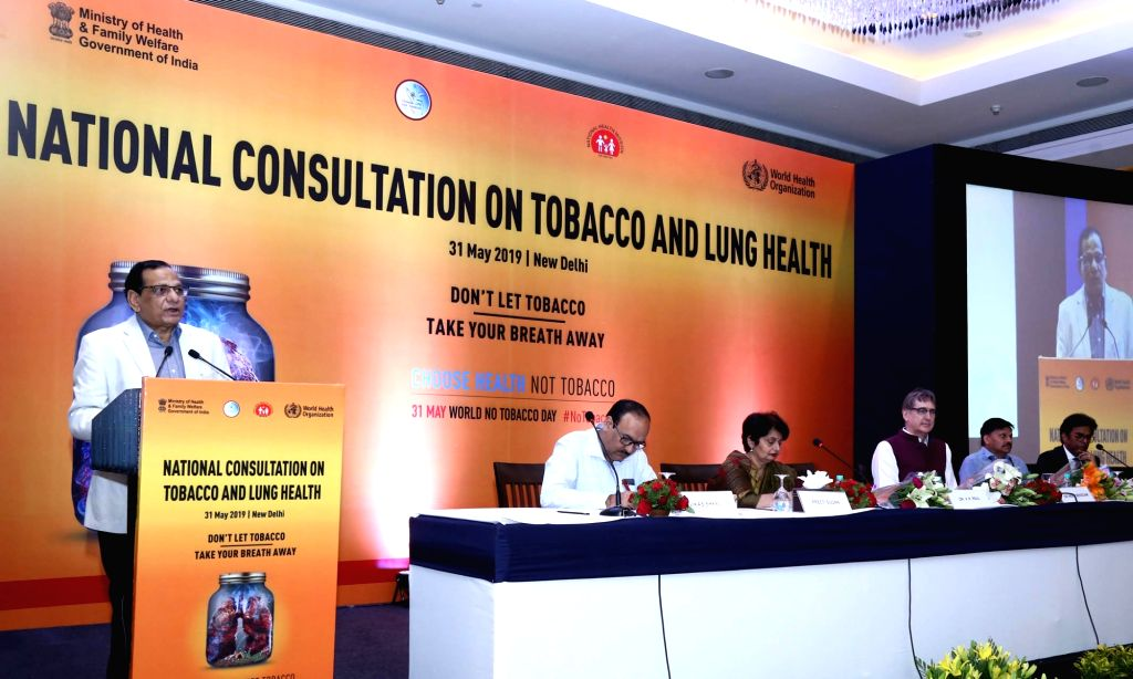 NITI Aayog Member V.K. Paul addresses at the inauguration of National Consultation on ???Tobacco and Lung Health??? on the occasion of World No Tobacco Day, in New Delhi on May 31, 2019.