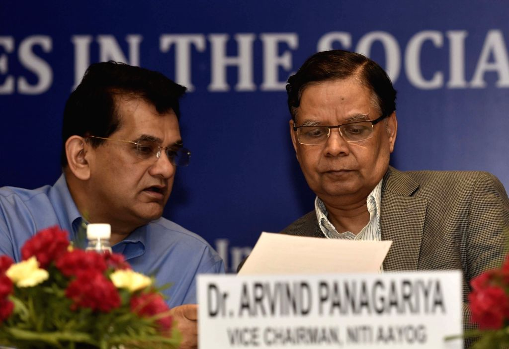 NITI Aayog Vice Chairman  Dr. Arvind Panagariya and CEO Amitabh Kant at the National Conference on Good Practices in the Social Sector Service Delivery, in New Delhi on May 23, 2016.