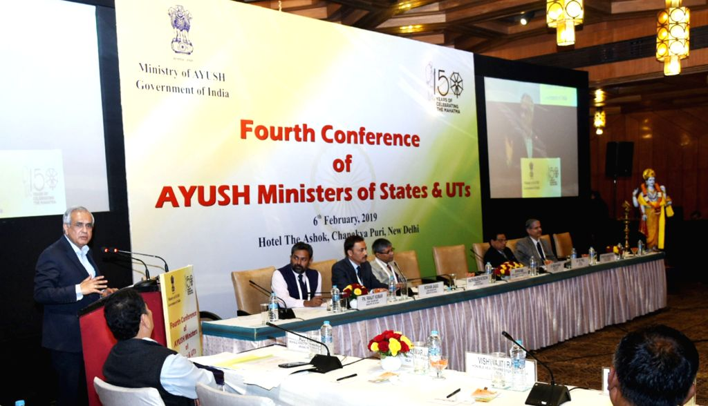 NITI Aayog Vice-Chairman Rajiv Kumar addresses at the Fourth Conference of State AYUSH/Health Ministers, in New Delhi, on Feb 6, 2019. - Rajiv Kumar