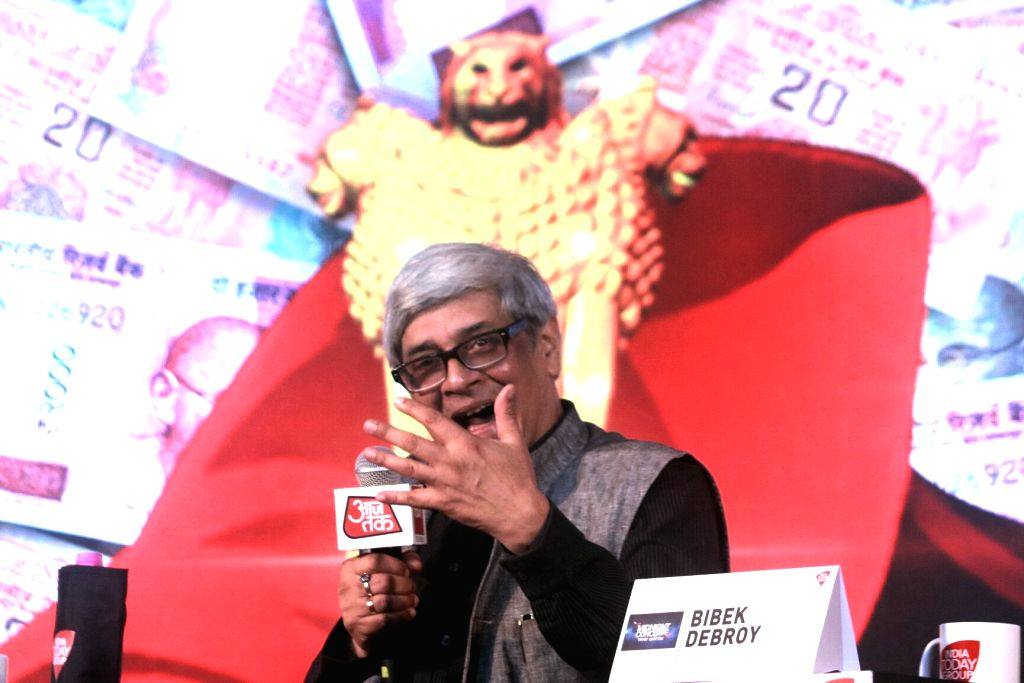 NITI Ayog member Bibek Debroy addresses during India Today's Midnight Conclave on GST in New Delhi, on June 30, 2017.