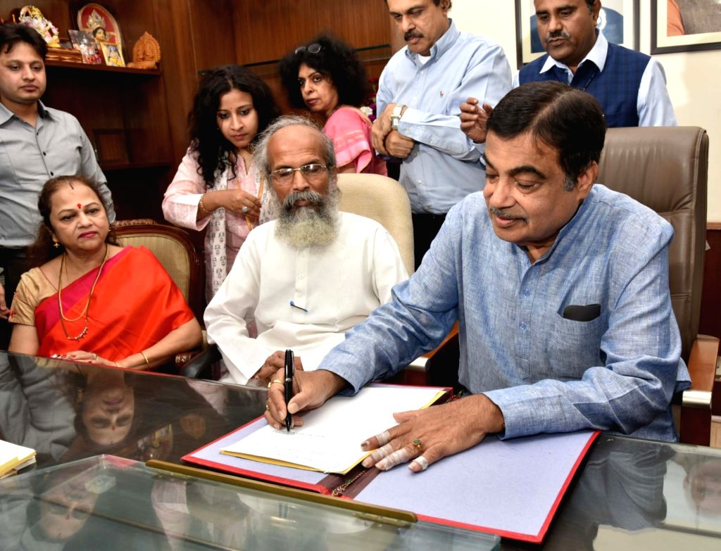 Nitin Gadkari takes charge as the Union Micro, Small and Medium Enterprises Minister, in New Delhi on June 4, 2019.