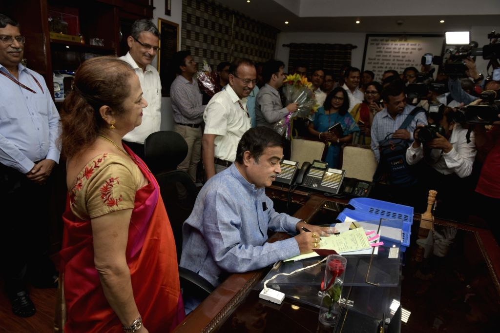 Nitin Gadkari takes charge as the Union Road Transport and Highways, and Micro, Small and Medium Enterprises Minister, in New Delhi on June 4, 2019.