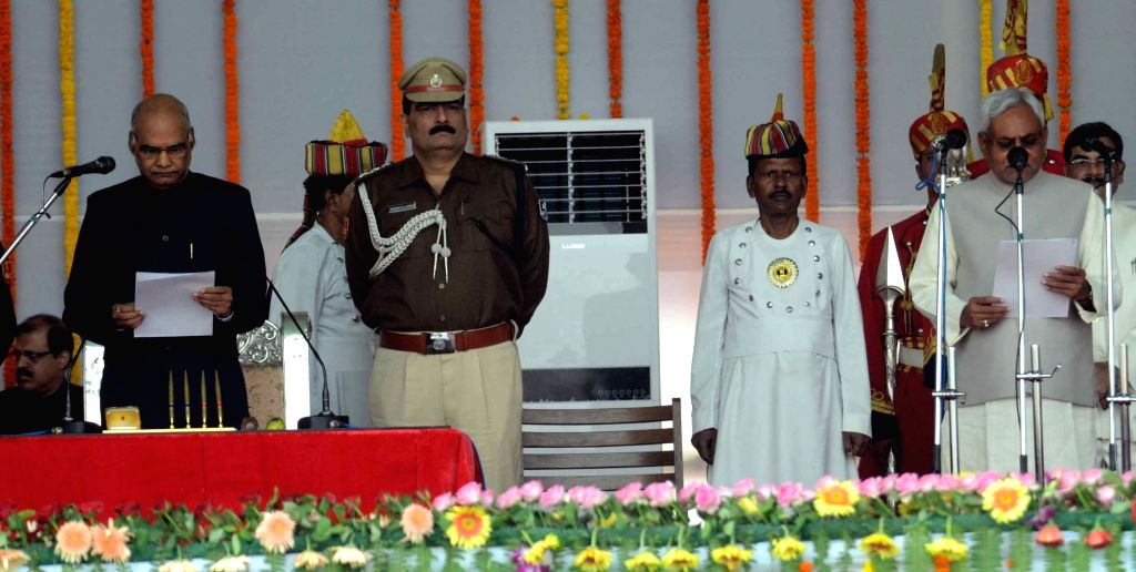 Nitish Kumar takes oath as the Chief Minister of Bihar in Patna, on Nov 20, 2015.