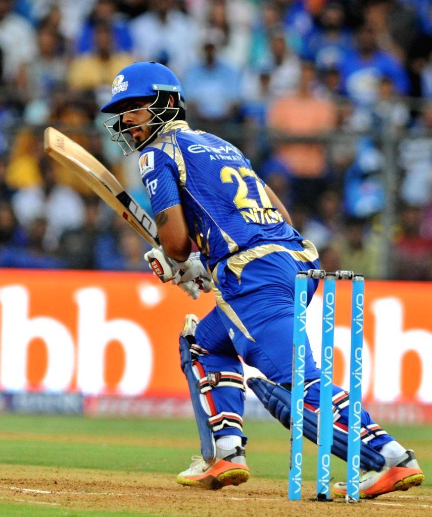 Nitish Rana of Mumbai Indians plays a shot during an IPL 2017 match between Mumbai Indians and Gujarat Lions at Wankhede Stadium in Mumbai on April 16. 2017.