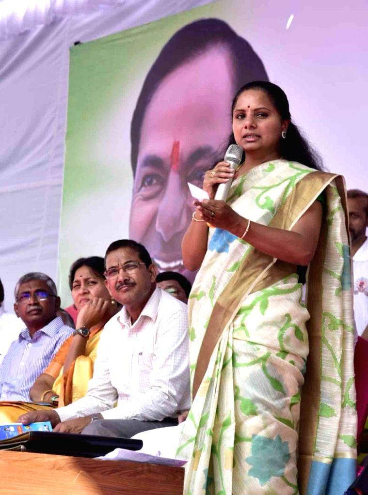 Nizamabad MP Kavitha addresses during a programme organised to celebrate her father and Telangana Chief Minister K. Chandrashekar Rao in Hyderabad, on Feb 17, 2019. - K. Chandrashekar Rao