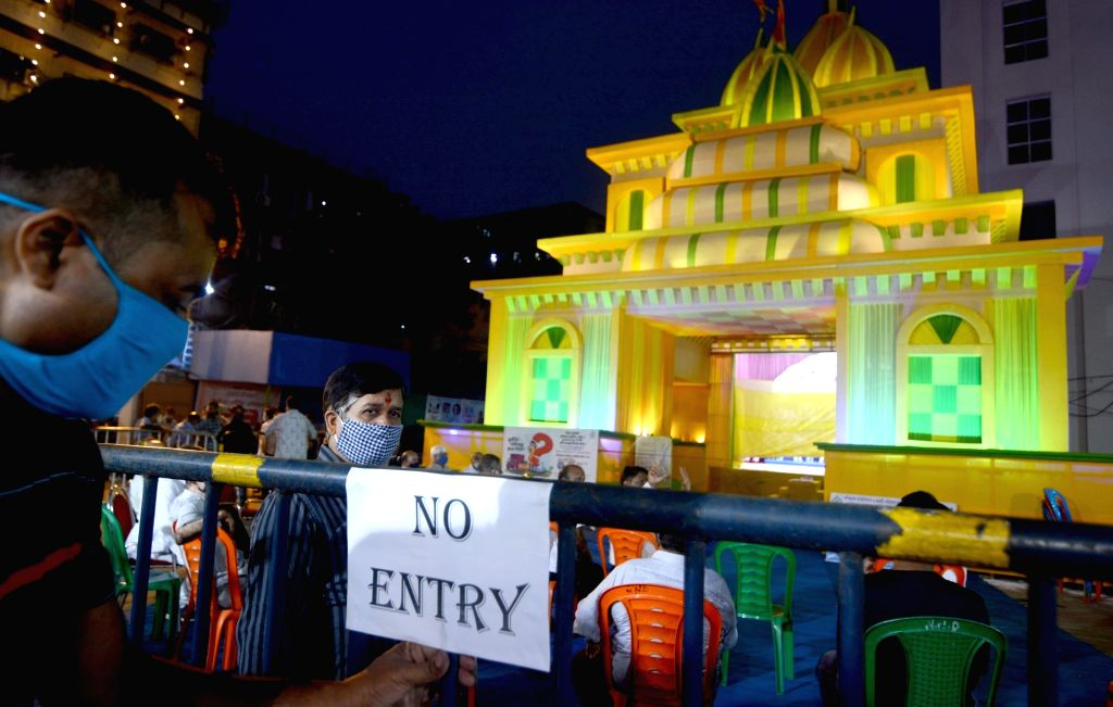 "No Entry"" at Mohammed Ali Park Puja pandal ahead of Durga Puja celebrations, in Kolkata on Oct 20, 2020. This comes close on the heels of the Calcutta High Court's orders on ..."