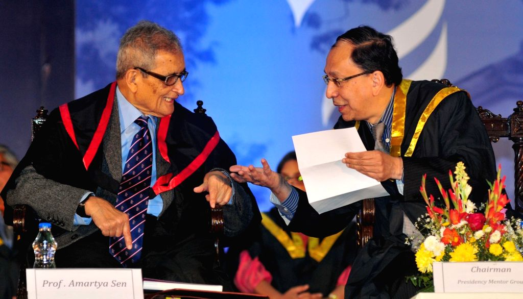 Nobel Laureate Amartya Sen with the Chairman of Presidency mentor group Sugata Bose at the Special Convocation of the  Presidency University where was conferred D.Litt. (Honoris Causa), in ... - Sugata Bose