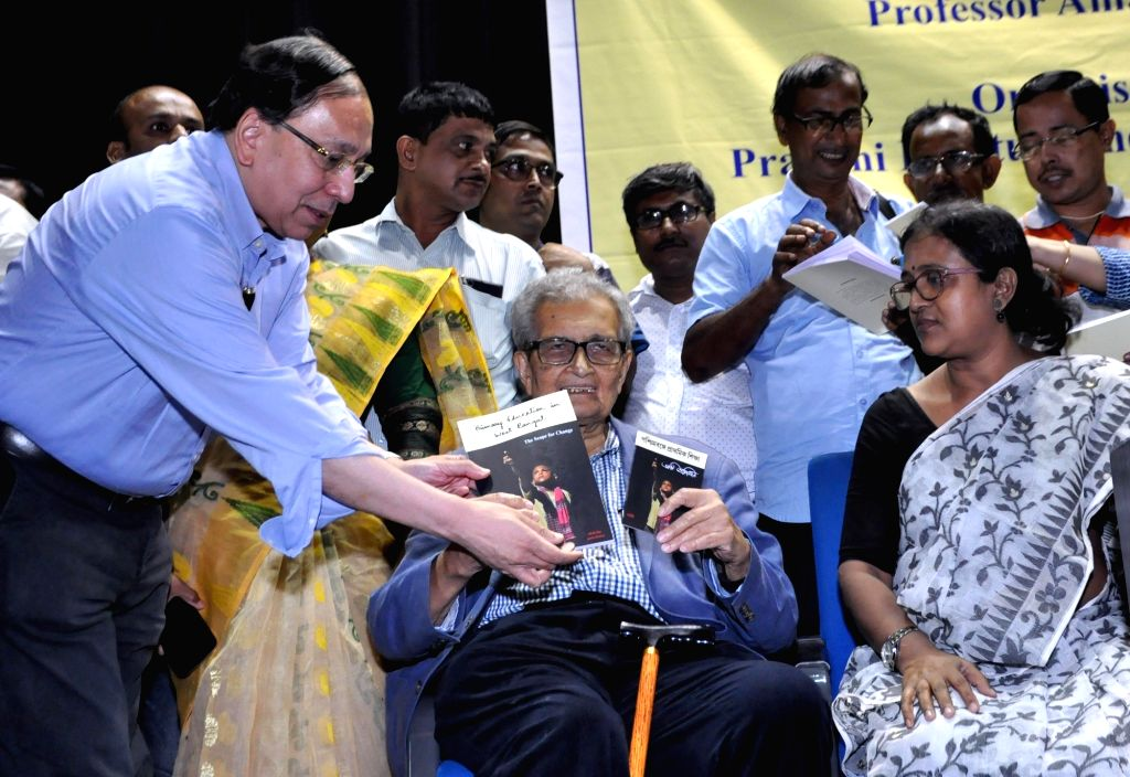 "Nobel laureate and noted economist Amartya Sen launches a report titled ""Primary Education in West Bengal: The Scope for Change"", in Kolkata on July 10, 2018."