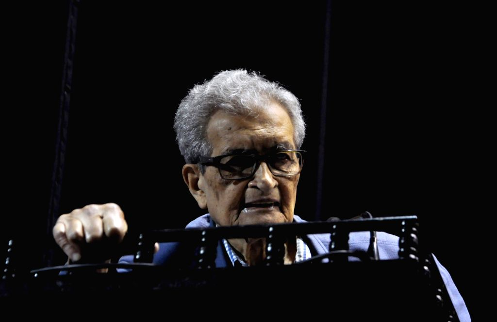 "Nobel laureate and noted economist Amartya Sen addresses at the launch of a report titled ""Primary Education in West Bengal: The Scope for Change"", in Kolkata on July 10, 2018."