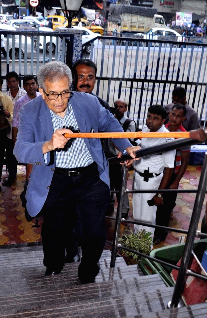 "Nobel laureate and noted economist Amartya Sen arrives at the launch of a report titled ""Primary Education in West Bengal: The Scope for Change"", in Kolkata on July 10, 2018."