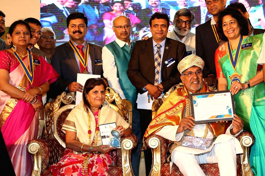 Nobel Laureate Kailash Satyarthi and his wife Sumedha being felicitated during the Rotary Club ICGF Youth Service programme in Bengaluru on Sept 17, 2017. - Kailash Satyarthi