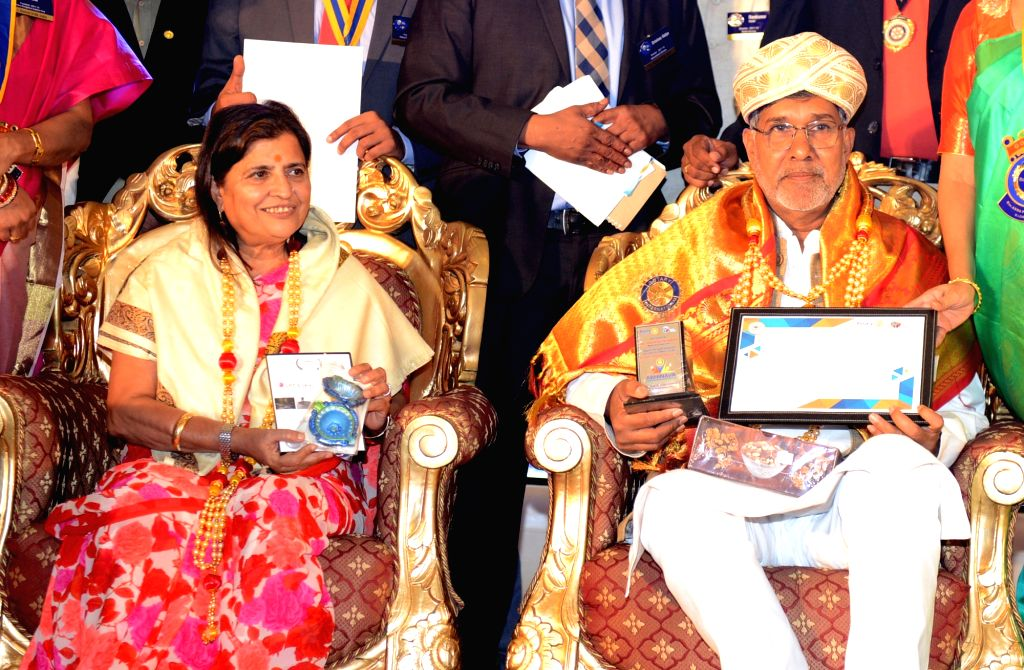 Nobel Laureate Kailash Satyarthi being felicitated during the Rotary Club ICGF Youth Service programme in Bengaluru on Sept 17, 2017. - Kailash Satyarthi