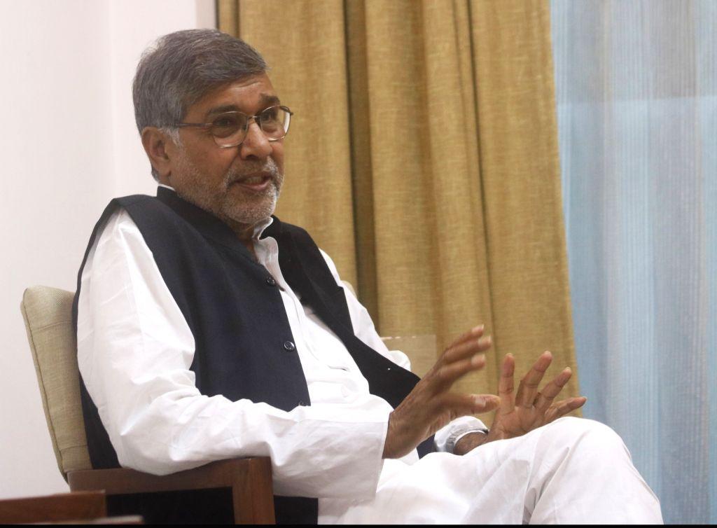 Nobel laureate Kailash Satyarthi during an interaction with IANS, in New Delhi, on  July 23, 2018. - Kailash Satyarthi