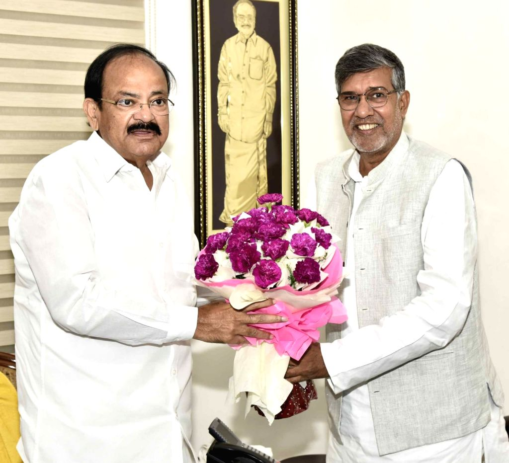 Nobel Peace Laureate Kailash Satyarthi calls on Vice President M Venkaiah Naidu in New Delhi on Aug 16, 2017. - Kailash Satyarthi and M Venkaiah Naidu
