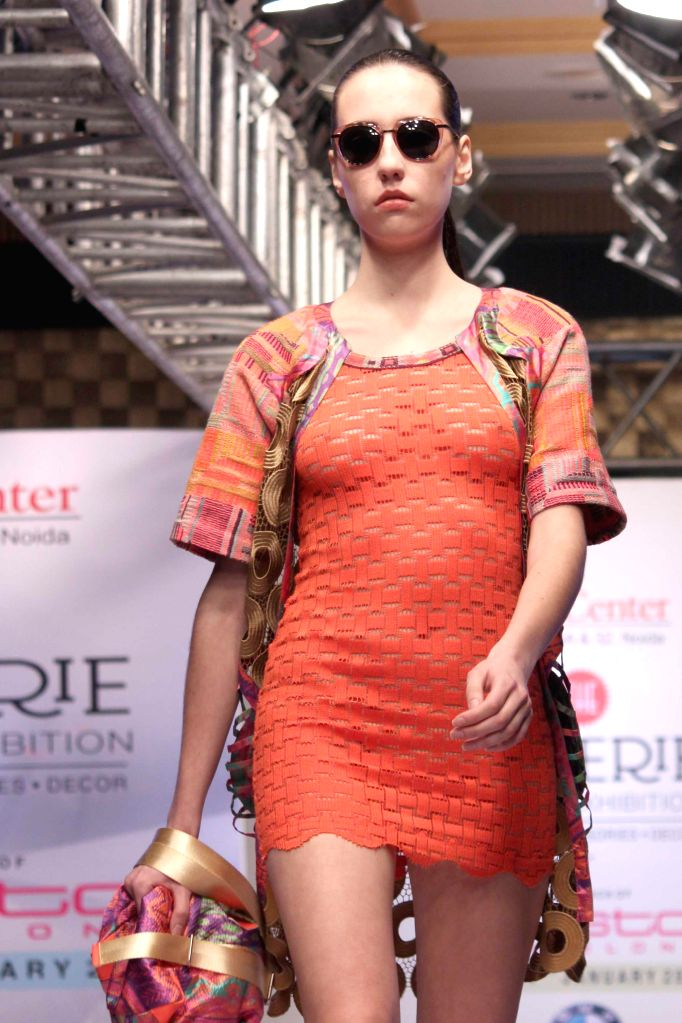 A model walks the ramp for the launch of Custo Barcelona, a international design house in Noida on Jan 16, 2015.