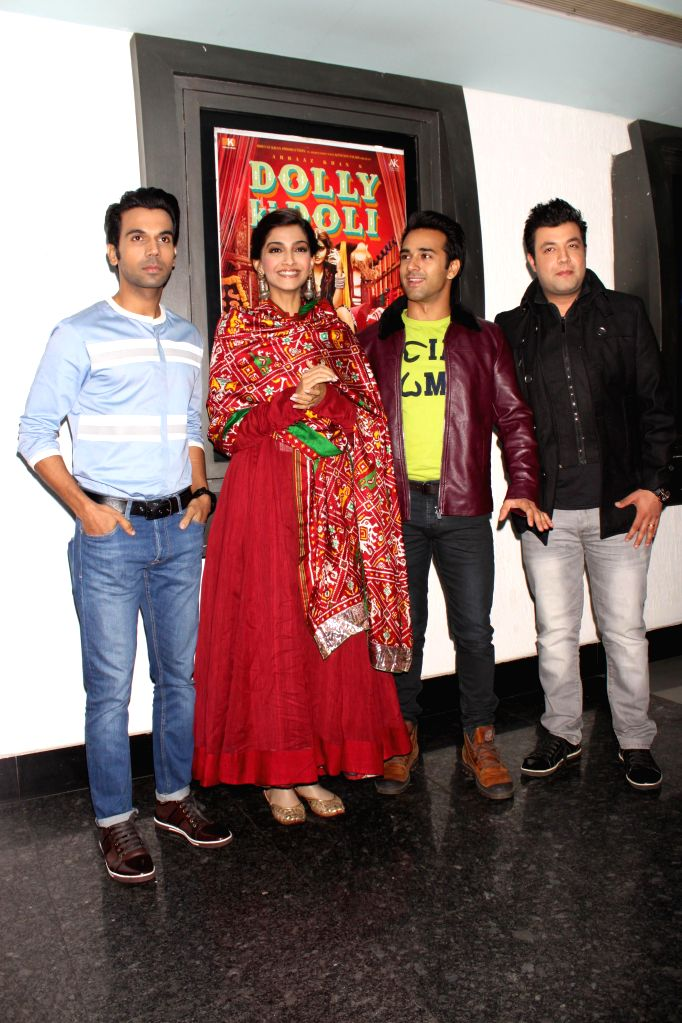 Actors Sonam Kapoor, Raj Kumar Yadav, Pulkit Samrat and Varun Sharma during a press conference to promote their upcoming film `Dolly Ki Doli` in Noida, on Jan 22, 2015. - Sonam Kapoor, Raj Kumar Yadav, Pulkit Samrat and Varun Sharma