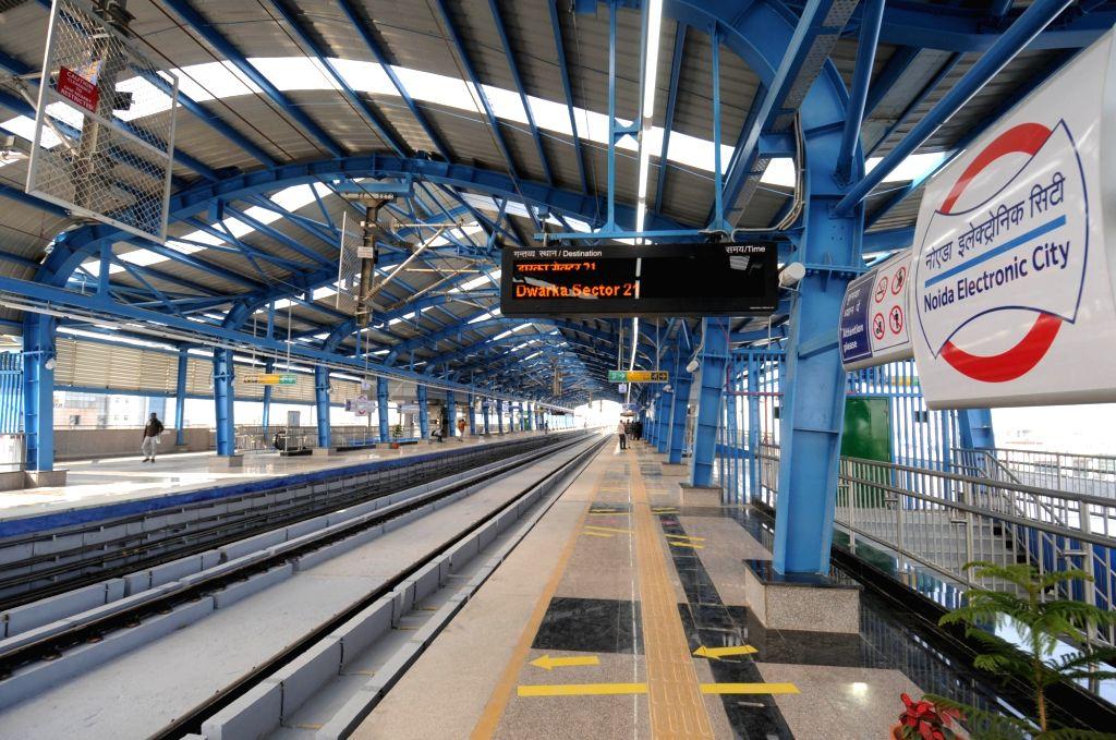NOIDA Electronic City metro station on Blue line of Delhi Metro; in Noida on April 6, 2019.