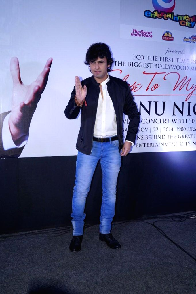 Singer Sonu Nigam during a programme organised to announce his upcoming live concert, in Noida on Nov 11, 2014.