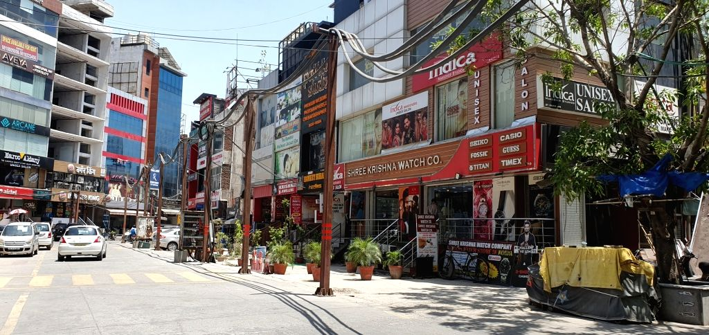 Noida: Stores at a Noida Sector 18 market re-open after the Gautam Buddh Nagar district administration said that shops will be allowed to open in the district on an odd-even basis with strict social distancing norms, during the fourth phase of the na