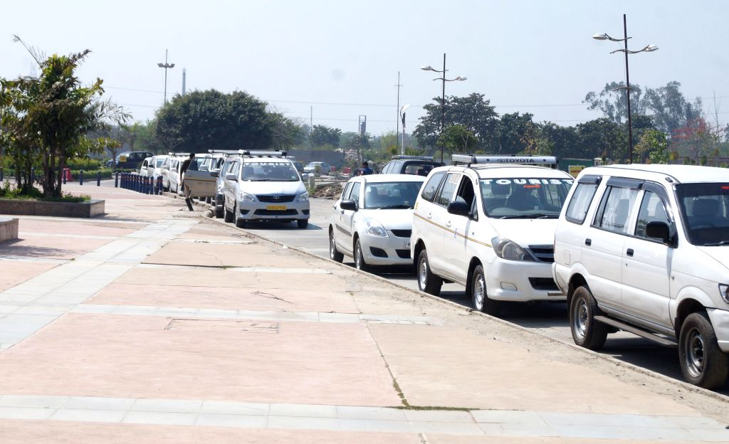 Vehicles of the Income Tax department parked at a Noida shopping mall which was raided by the department on March 10, 2015.
