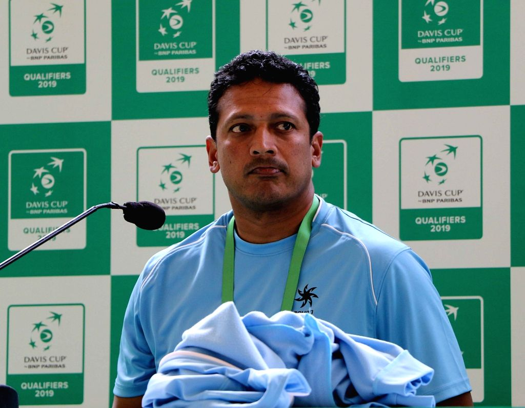 Non- playing captain of the Indian Davis Cup team Mahesh Bhupathi addresses a press conference after a practice session ahead of the Davis Cup World Group qualifier against Italy on February ... - Mahesh Bhupathi