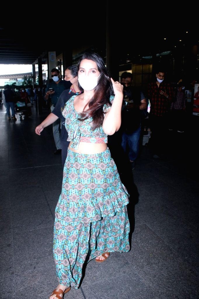 Nora Fatehi spotted at Airport arrival on Tuesday 02nd March, 2021.
