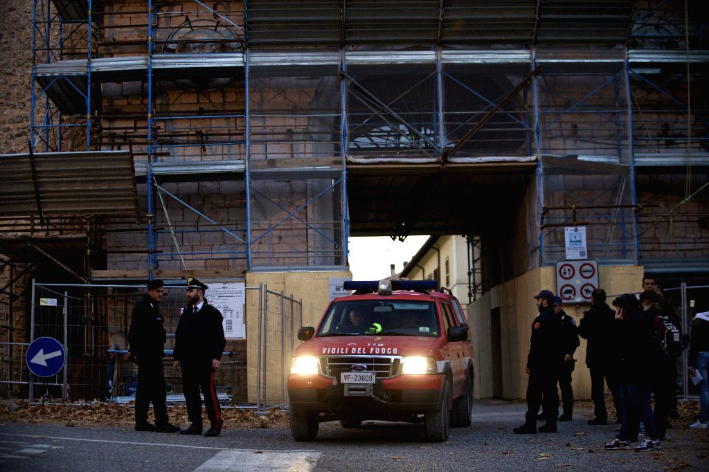 NORCIA, Oct. 31, 2016 - A relief vehicle drives out of the historical center of Norcia, central Italy, on Oct. 30, 2016. A 6.5-magnitude earthquake hit central Italy on Sunday, causing no victims, ...
