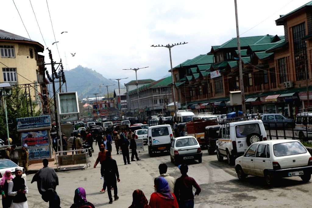 Normal life resumes in Srinagar after five days of restrictions on April 18, 2016.