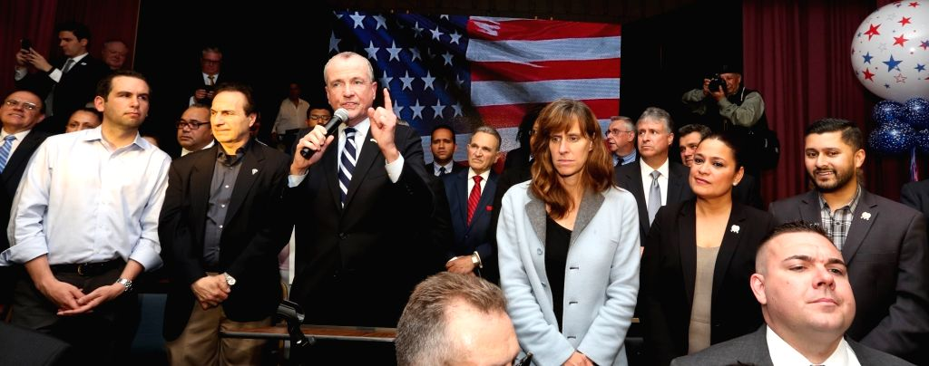 North Bergen: New Jersey Governor candidate Democrat Phil Murphy speaks at a fundraiser held in Schuetzen Park, North Bergen on May 25, 2017. Also seen Jersey City Mayor Fulop and New Jersey ...