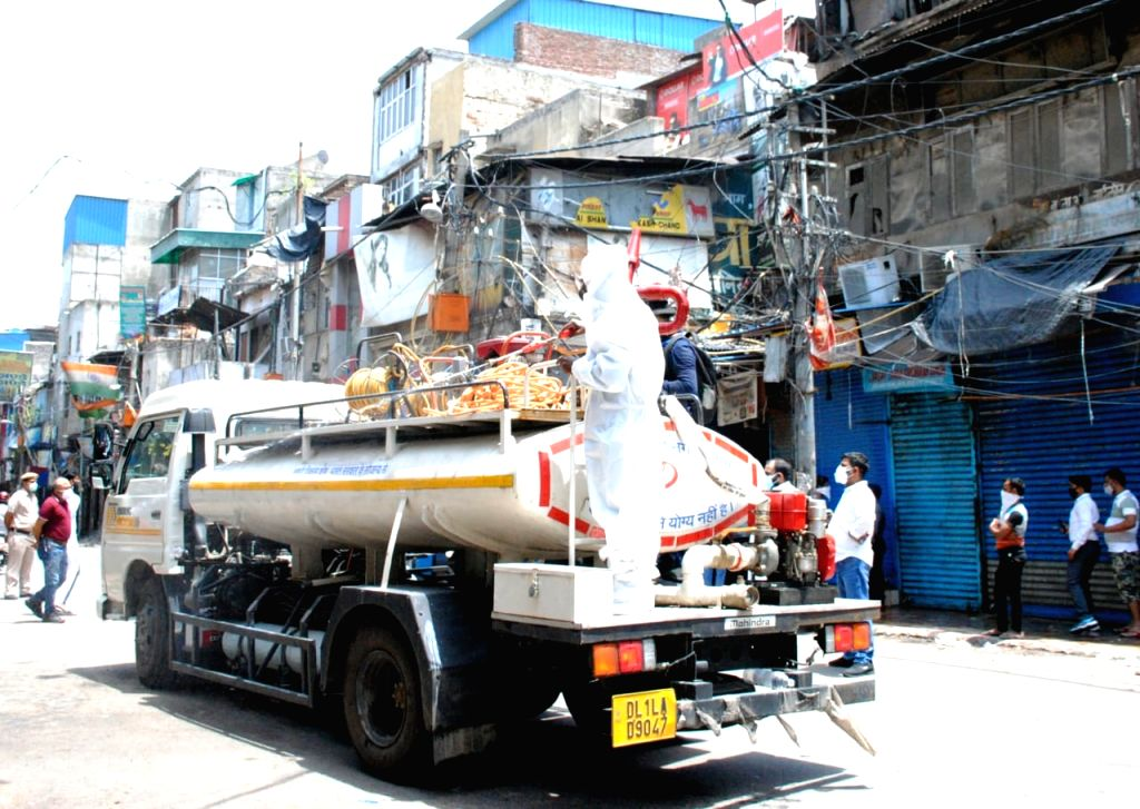 North Delhi Mayor Jai Prakash to Launch Sanitization drive from, Sadar Bazaar the Asia's biggest market prior to opening of markets after relaxation of lockdown in New Delhi on Sunday June ...