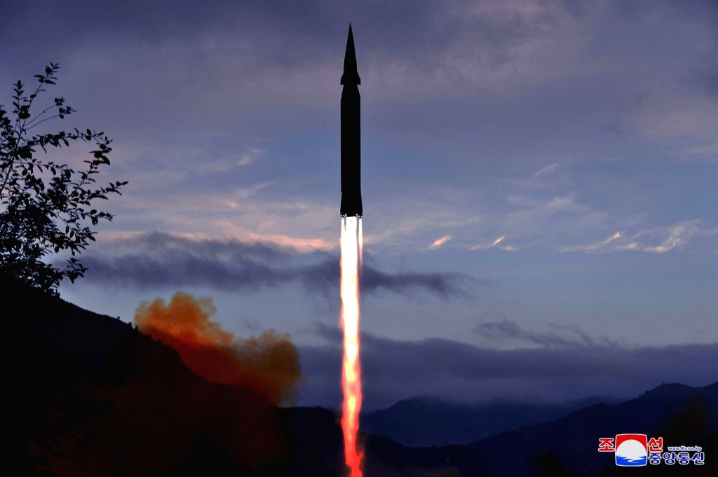 North Korea's official Korean Central News Agency on Sept. 29, 2021, shows what the North claims to be a new hypersonic missile being launched from Toyang-ri, Ryongrim County, Jagang Province the ...