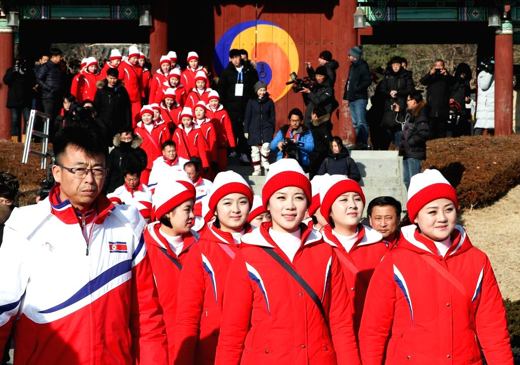 North Korean cheerleaders visit Ojukheon, a major tourist destination, in Gangneung on the east coast on Feb. 13, 2018