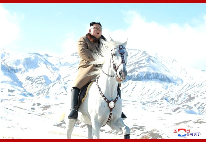 North Korean state media on Wednesday released a series of pictures of its leader Kim Jong-un where in he can be seen riding a  white horse on a snow covered mountain considered sacred in the country.