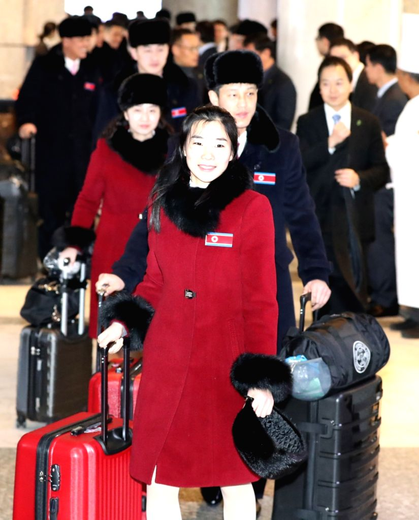 North Korean taekwondo performers leave a Seoul hotel on Feb. 15, 2018, to return home after a rare show tour in South Korea organized to mark the PyeongChang Winter Olympics. The 28-member ...