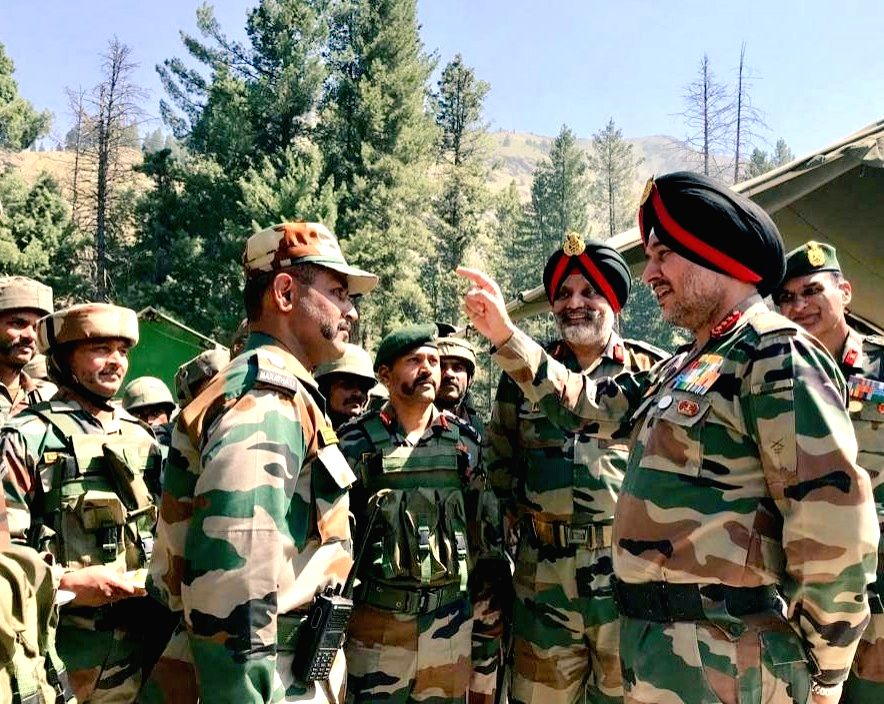 Northern Army Commander reviews security in Kashmir.