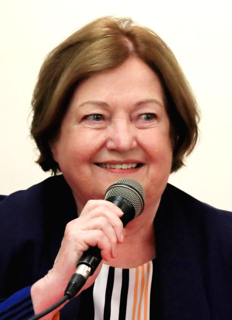 Northern Irish peace activist and Nobel Peace Prize laureate Mairead Maguire speaks during a press conference in Seoul on May 23, 2018, to support the April 27 joint declaration that South ...