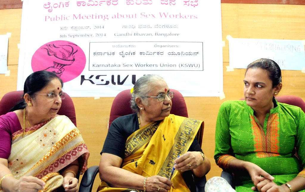 Noted writer Dr. Kamala Hampana  with Indira Krishnappa and Karnataka Sex Workers Union president Nisha Gulur during a meeting about sex workers at Gandhi Bhavan in Bangalore on Sept 8, 2014.