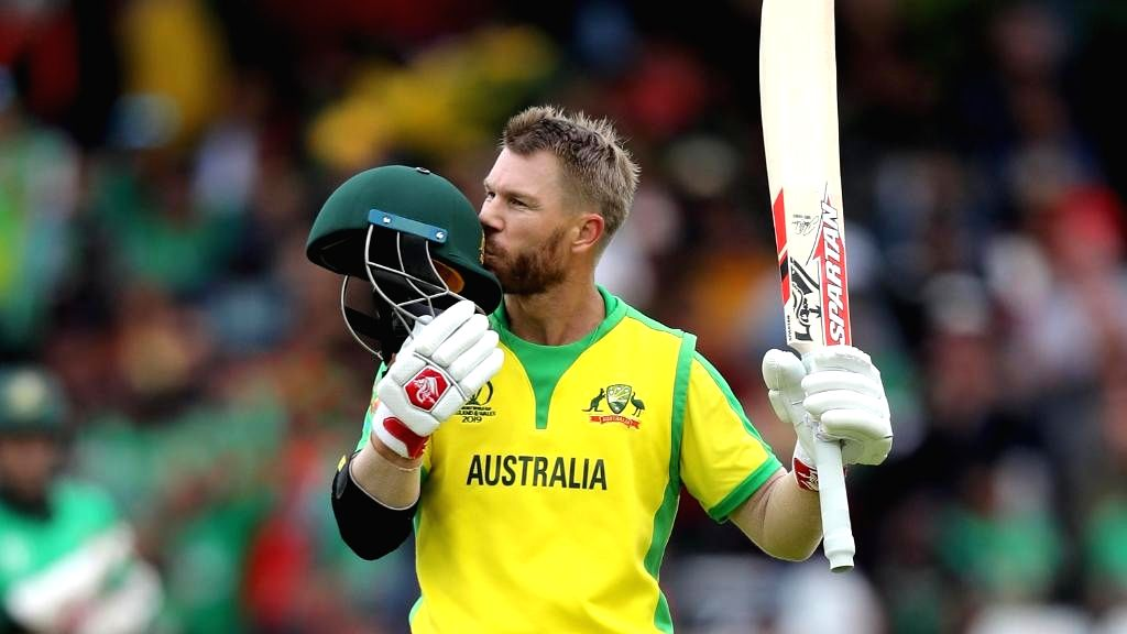 Nottingham: Australia's David Warner celebrates his century during the 26th match of 2019 World Cup between Australia and Bangladesh at Trent Bridge in Nottingham, England on June 20, 2019. (Photo Credit: Twitter/@cricketworldcup)