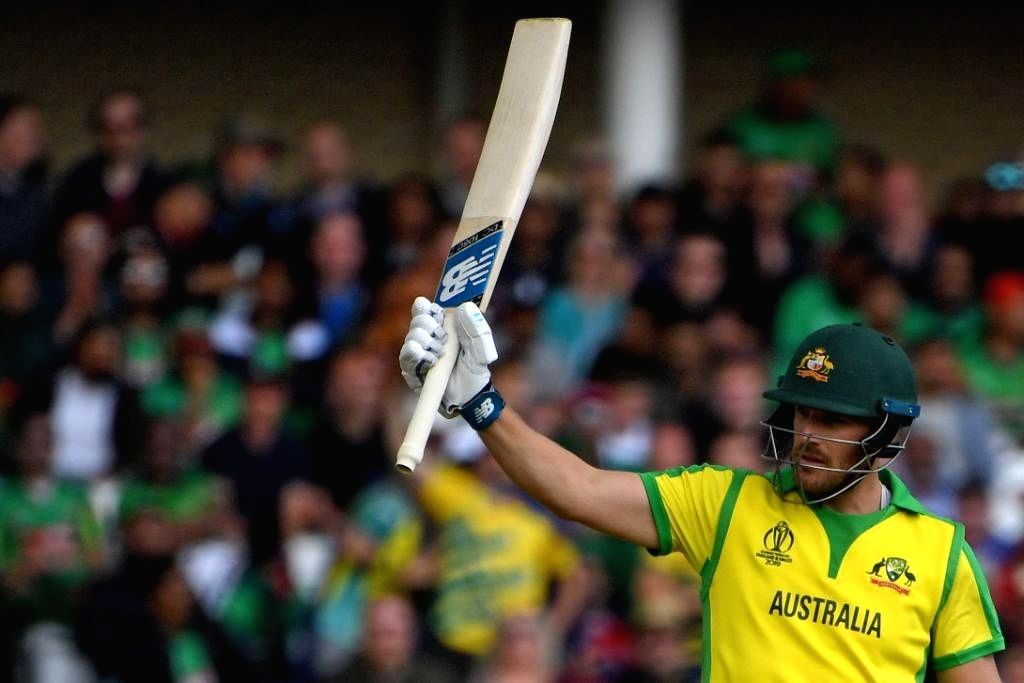 Nottingham: Australia's skipper Aaron Finch celebrates his half century during the 26th match of 2019 World Cup between Australia and Bangladesh at Trent Bridge in Nottingham, England on June 20, 2019. (Photo Credit: Twitter/@ICC)