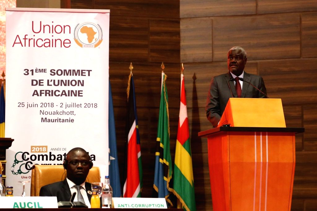 NOUAKCHOTT, July 2, 2018 - Moussa Faki Mahamat, chairperson of the African Union (AU) Commission, delivers a speech at the 31st Summit of the AU in Nouakchott, the capital of Mauritania, on July 1, ...